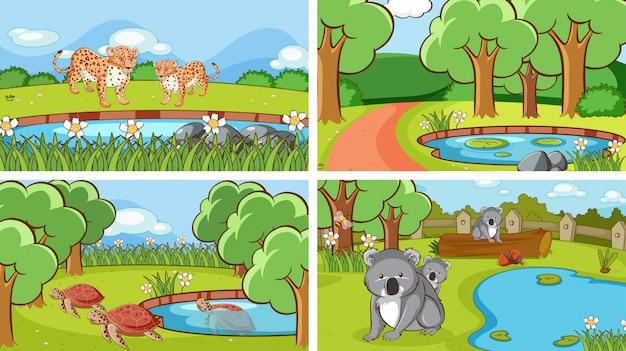Сцены животных в дикой природе Бесплатные векторы