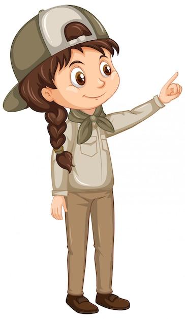 Девушка в форме разведчика на изолированных фоне Бесплатные векторы