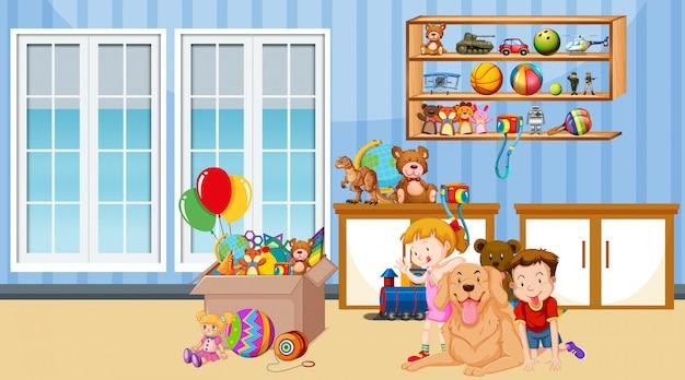 Сцена с мальчиком и девочкой, играющими в комнате Бесплатные векторы