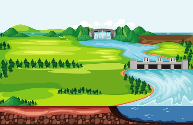 ダムから流れ落ちる水があるシーン 無料ベクター