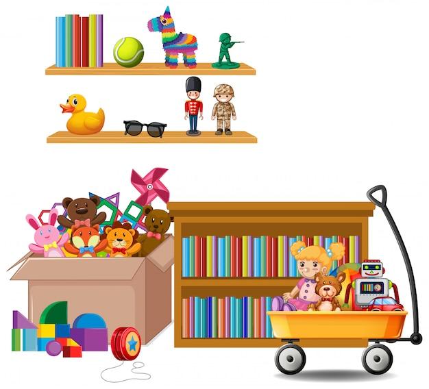 本と白のおもちゃでいっぱいの棚 無料ベクター