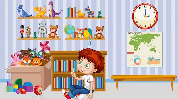 Сцена с мальчиком, играющим в одиночестве в комнате Бесплатные векторы