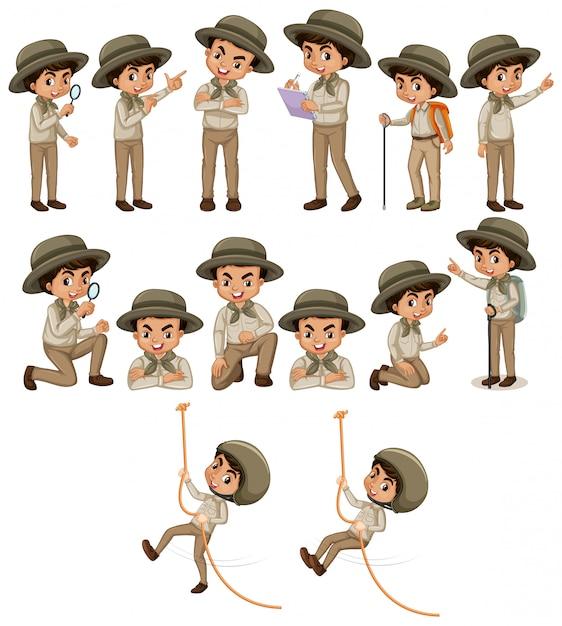 Мальчик в одежде сафари делает разные вещи Бесплатные векторы