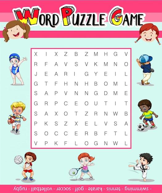 Шаблон игры для головоломки слова со многими видами спорта Бесплатные векторы