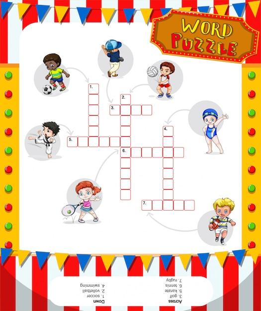 多くのスポーツを備えたワードパズルゲーム 無料ベクター