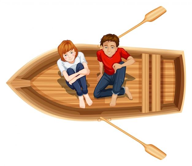 Мужчина и женщина сидят на лодке Бесплатные векторы