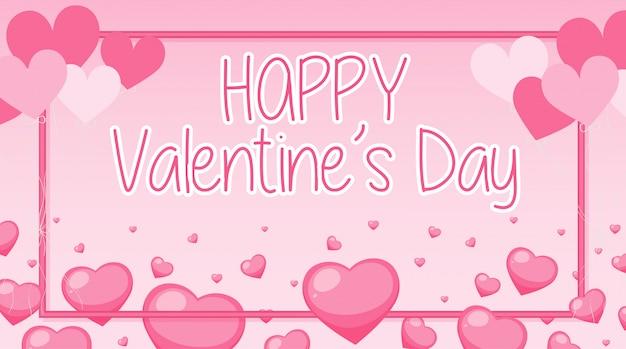 Валентина баннер с розовыми сердечками и рамкой Бесплатные векторы