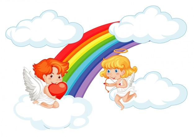 Валентина иллюстрация с амурами, летающими в небе Бесплатные векторы