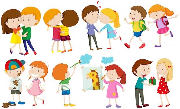 Дети и люди в любви Бесплатные векторы