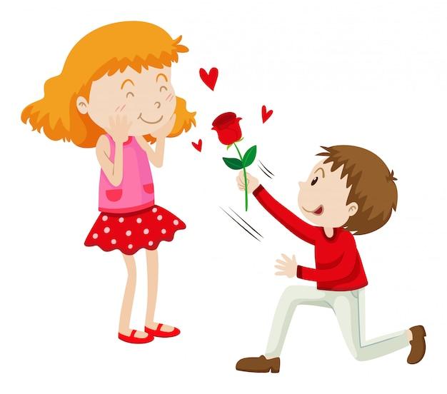 Мужчина дарит розу своей девушке Бесплатные векторы