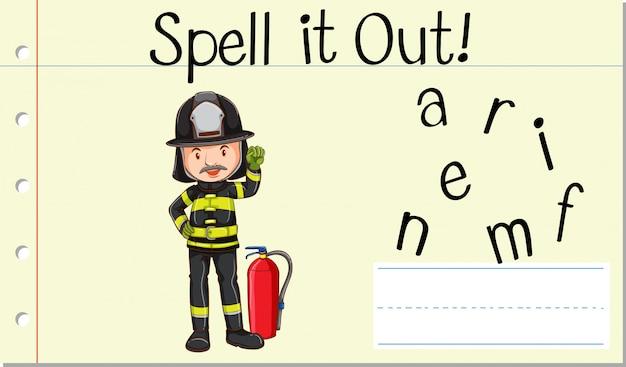 Заклинание английского слова пожарный Бесплатные векторы