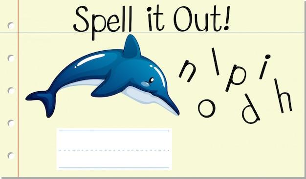 Заклинание английского слова дельфин Premium векторы