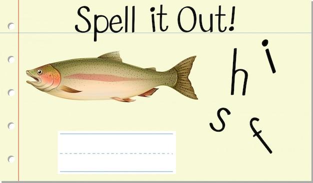 Заклинание английского слова рыба Бесплатные векторы