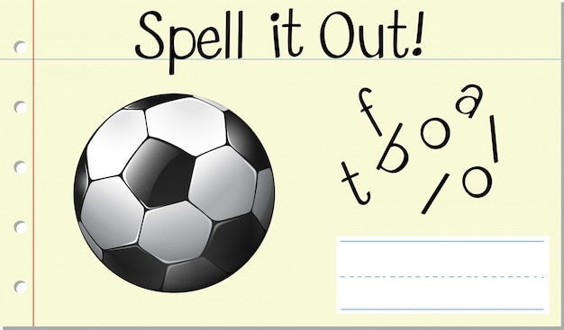 Заклинание английского слова футбол Premium векторы