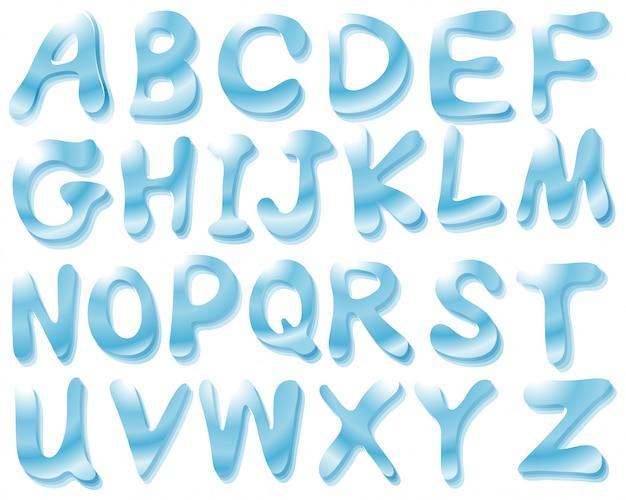 Аква алфавит Бесплатные векторы