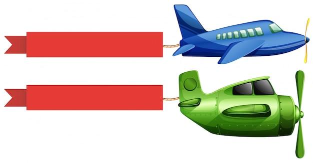 Самолет и красная рекламная лента Бесплатные векторы