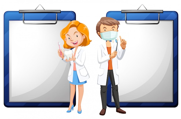 Два стоматолога и белые документы Бесплатные векторы