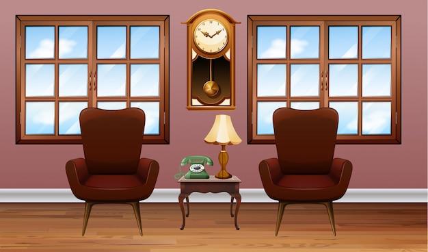 Комната с двумя коричневыми креслами Premium векторы