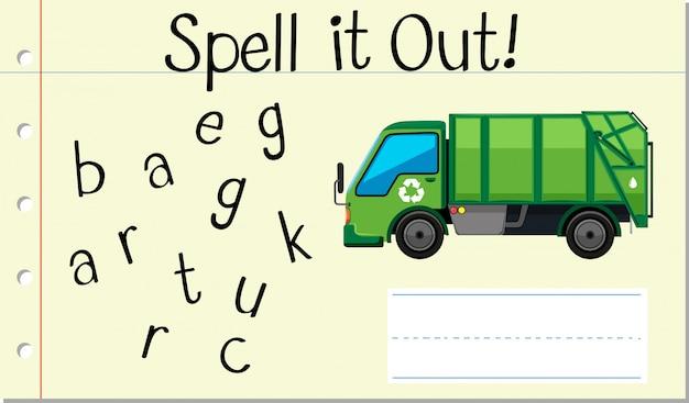 英語の単語のゴミ収集車をスペル 無料ベクター