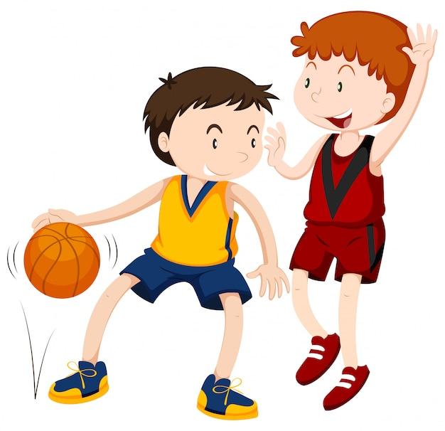 Два мальчика играют в баскетбол Бесплатные векторы