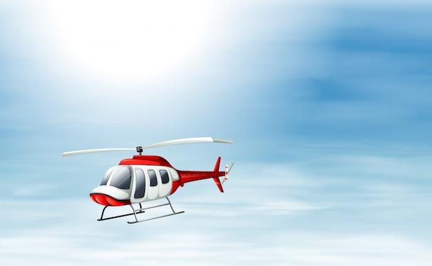 Небо с вертолетом Premium векторы