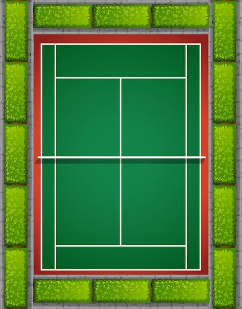 Теннисный корт с кустами вокруг Бесплатные векторы