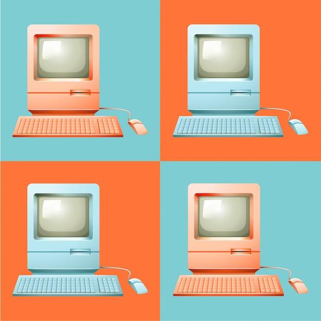 Компьютер в поп-арт Premium векторы