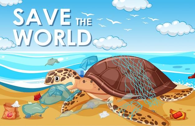 ウミガメとビニール袋による汚染制御シーン 無料ベクター