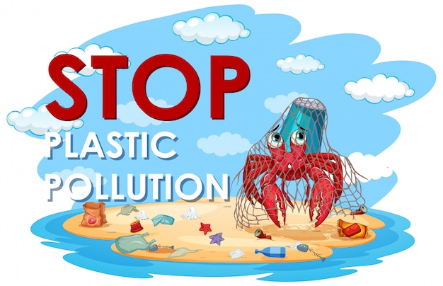プラスチック汚染を停止するための図 無料ベクター