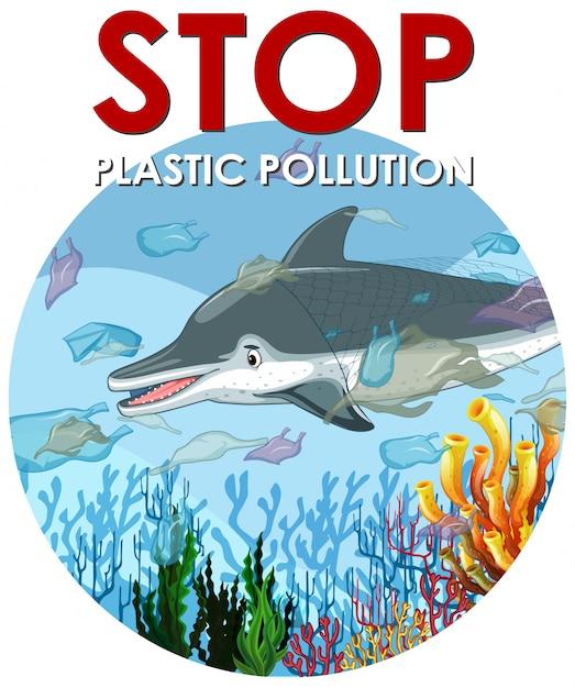 Сцена контроля загрязнения с дельфинами и полиэтиленовыми пакетами Бесплатные векторы