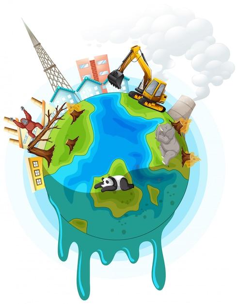 Иллюстрация с проблемой глобального потепления Бесплатные векторы