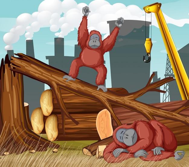 チンパンジーと森林伐採のシーン 無料ベクター