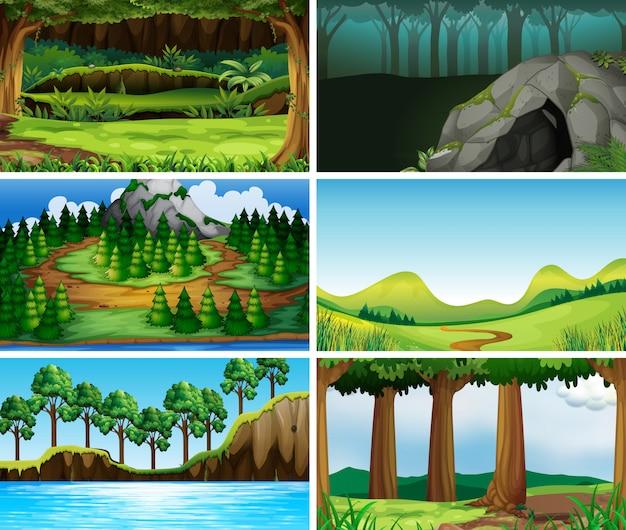 Пустые, пустые пейзажи природы Бесплатные векторы