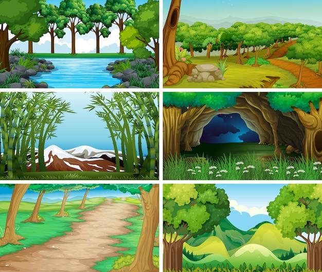 Пустые, пустые пейзажи природы Premium векторы