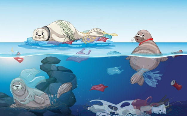 海のシールとビニール袋のあるシーン Premiumベクター