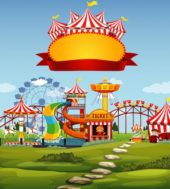 Цирковая сцена с шаблоном знака в небе Premium векторы
