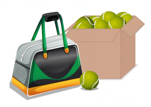 Коробка с теннисными мячами на белом Бесплатные векторы