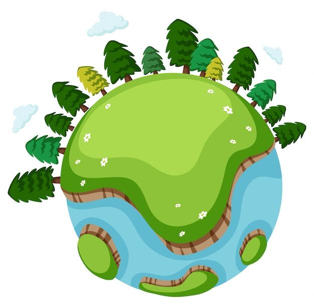 多くの木と緑の草の大きな世界 無料ベクター