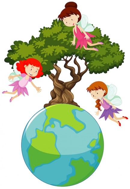 Большой мир и три феи летают вокруг большого дерева Бесплатные векторы