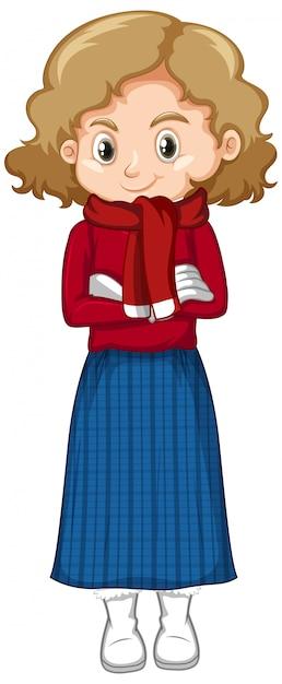 Милая девушка в зимней одежде стоит на белом Бесплатные векторы