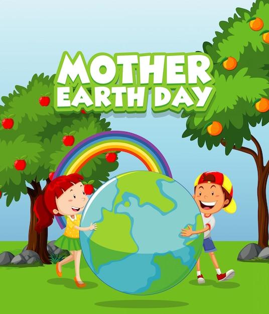 Открытка на день матери-земли с двумя детьми в парке Бесплатные векторы