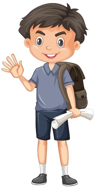 紙と白のバックパックでかわいい男の子 無料ベクター