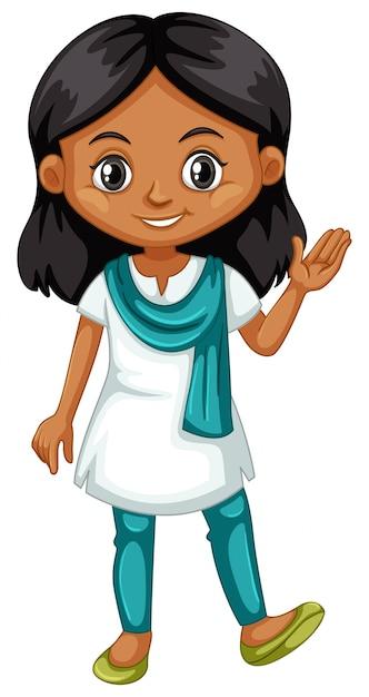 Индийская девушка машет рукой на белом Бесплатные векторы