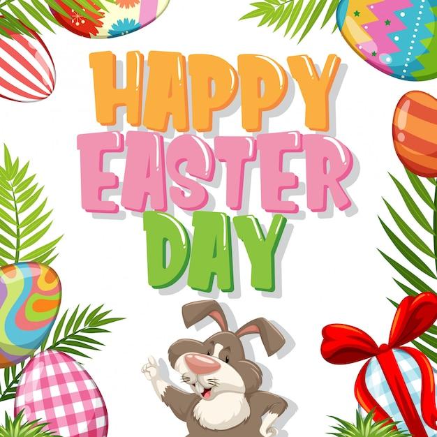 Дизайн плаката на пасху с кроликом и крашеными яйцами Premium векторы