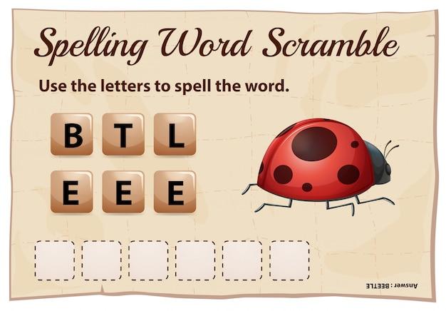 単語の甲虫のスペルワードスクランブルゲーム 無料ベクター