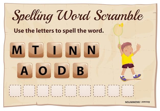 Правописание слова схватка игры со словом бадминтон Бесплатные векторы