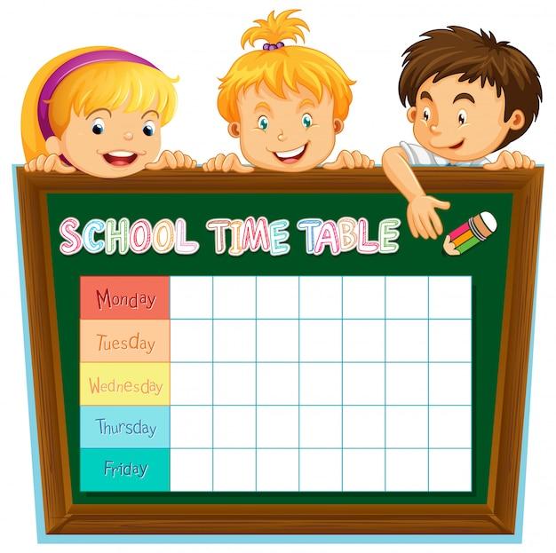 Расписание школьного планирования с персонажами Бесплатные векторы