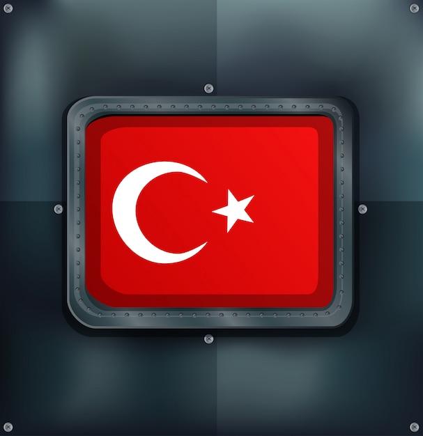 メタリックのトルコ国旗 無料ベクター
