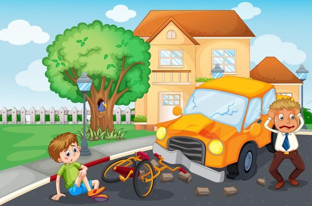 道路での事故のシーン 無料ベクター