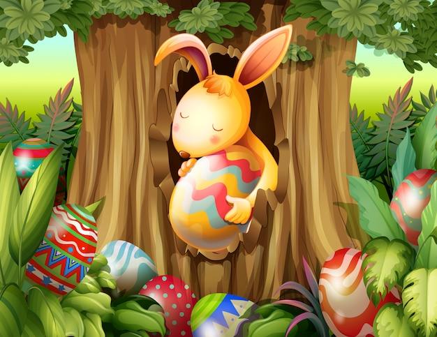 Кролик в норе дерева, окруженного яйцами Premium векторы